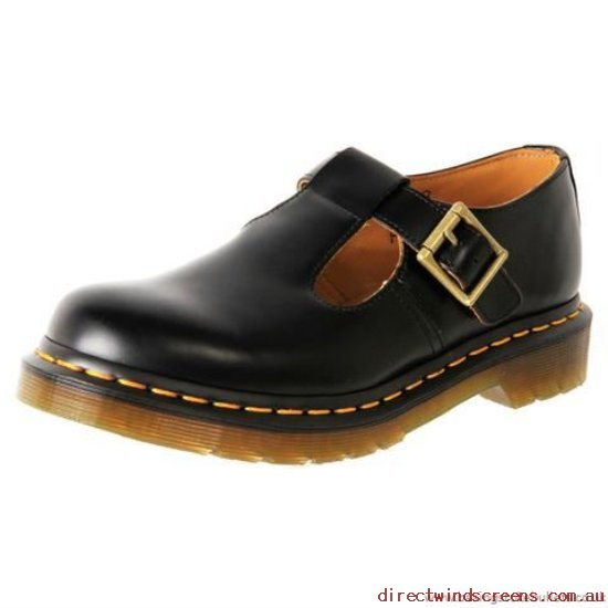 School Shoes - Factory Sale Dr. Martens Classics Polley Black Smooth - Kids QH838124