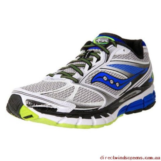 School Shoes - High fashion Saucony Men's Guide 8 Guidance Running White/Blue/Citron - Kids JD926802