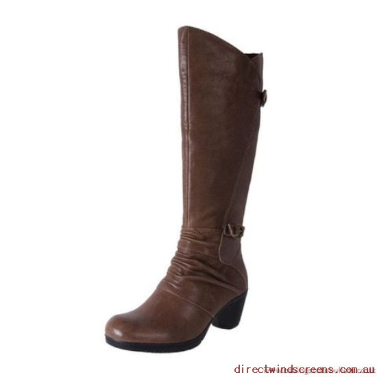 Comfort Shoes - On-line shop Planet Shoes Women's Leather Cofmrot Mid Calf Boot Dame Taupe - Women RK490641